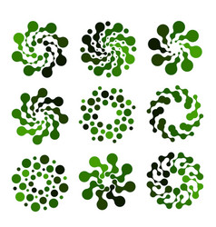 Isolated abstract green color round shape logo set vector