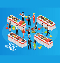 Isometric banquet background composition vector