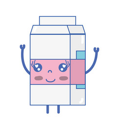 Kawaii cute happy milk box vector