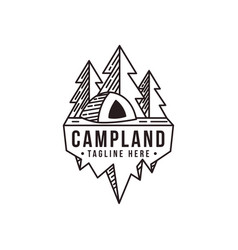 lineart outdoor camping camp land logo icon vector image