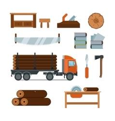 Lumberjack woodworking tools icons vector image