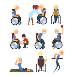Man in wheelchair in different situations set vector
