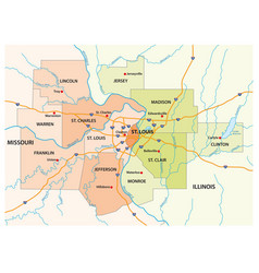 map greater st louis area vector image