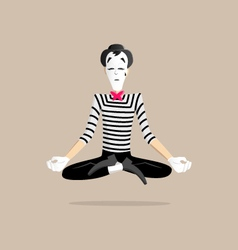 Mime performance - yoga meditating vector image