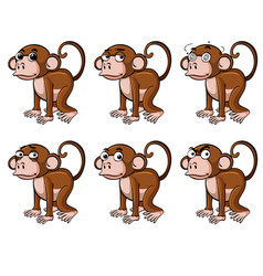 monkey with different emotions vector image