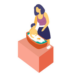Mother bathing son child in bath isolated vector