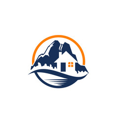 Mountain hostel logo design template vector