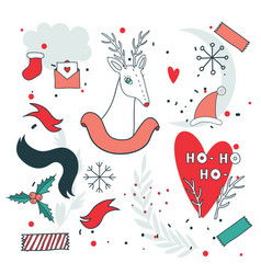 new year design elements set with christmas deer vector image