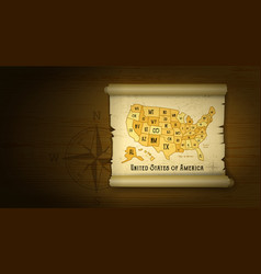 old usa map on wooden background vector image