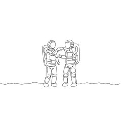 One single line drawing two young astronauts vector