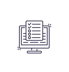 Online survey test line icon vector