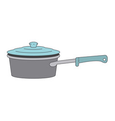 Pan with handle and lid colorful silhouette vector