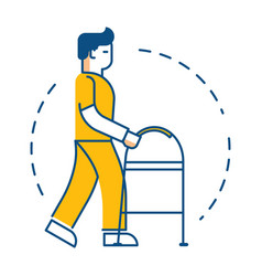 patient with walker physiotherapy and medical vector image