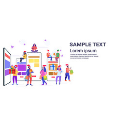 people in santa hats using mobile application mix vector image