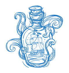 pirate frigate in a green glass bottle outline vector image