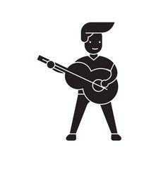 playing a guitar black concept icon vector image
