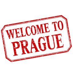 Prague - welcome red vintage isolated label vector