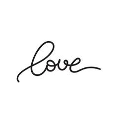 Romantic simple modern black lettering word love vector