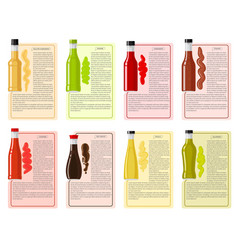 sauce bottle collection with information text vector image