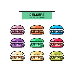 Set of 9 colorful French macaroons Sweet dessert vector image