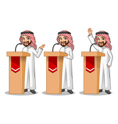 Set of businessman saudi arab man giving a speech vector