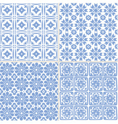 set of hand drawn blue moroccan seamless patterns vector image