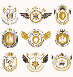Set vintage emblems created with decorative vector