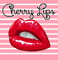 Shiny cherry lips on a pink striped background vector