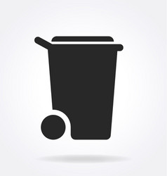 Simple wheelie bin silhouette symbol vector