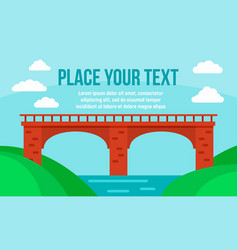 stone river bridge concept banner flat style vector image