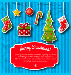Striped christmas postcard vector