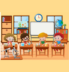 Students doing experiment in science class vector