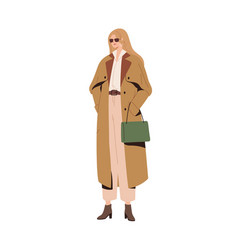 Stylish modern woman in autumn fashion outfit vector