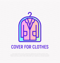 suit from dry cleaning thin line icon vector image