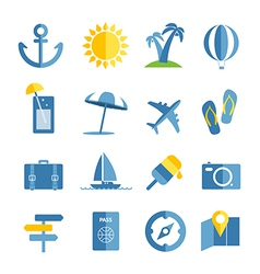 Summer seaside vacation icons vector image vector image