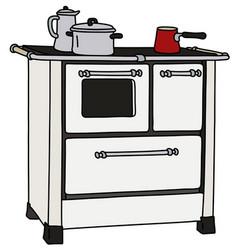 The retro white kitchen stove vector