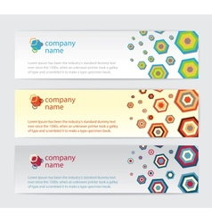 Three Invitation cards with hexagon on background vector image
