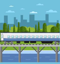 train moving on bridge background cityscape vector image
