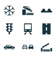 transport icons set with risk car river and vector image