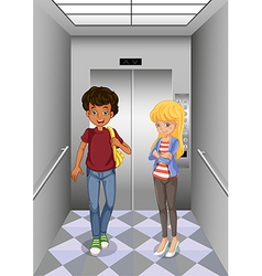 Two teenagers at the elevator vector image