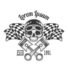 Vintage biker rider skull tattoo vector
