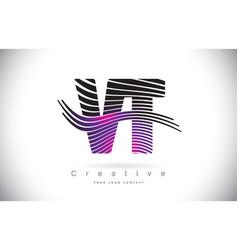 vt v t zebra texture letter logo design with vector image
