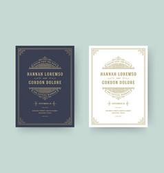 Wedding invitation save date card flourishes vector