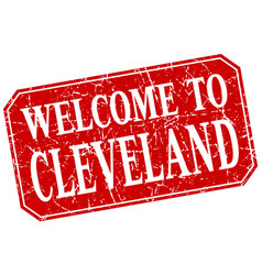 Welcome to cleveland red square grunge stamp vector