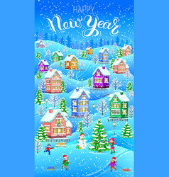Winter card vertical happy new year vector