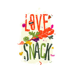 With inscription love snack pattern eco vector