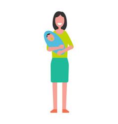 woman holding newborn baon hands motherhood vector image