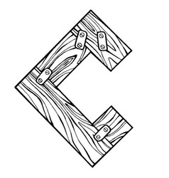 wooden letter c engraving vector image