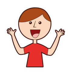 Young boy with hands up avatar character vector