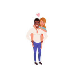 young man carring girlfriend on his back happy vector image